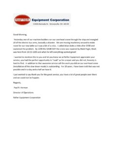 thumbnail of Rafter Equipment Letter of Reference
